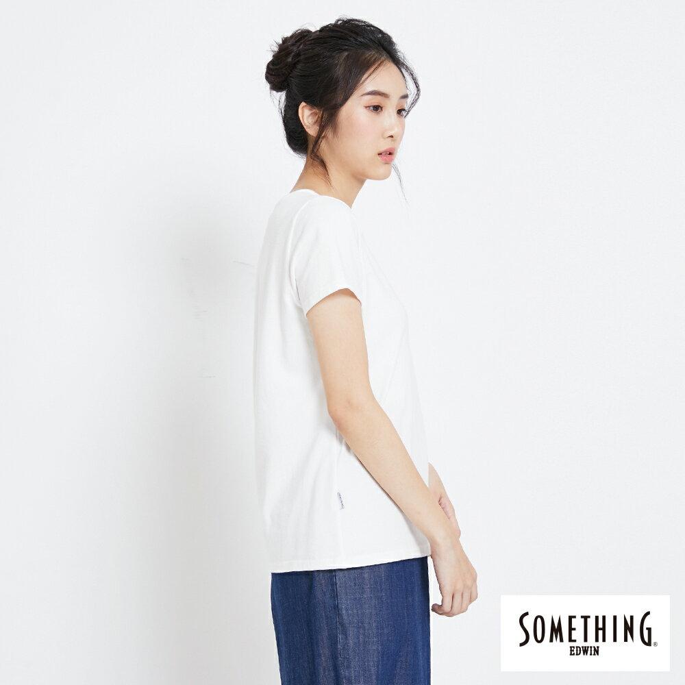 SOMETHING 簡約刺繡 短袖T恤-女款 白色 2