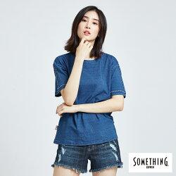 新品↘SOMETHING INDIGO肩刺繡 短袖T恤-女款 漂淺藍