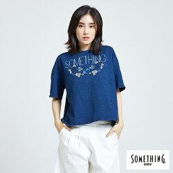 新品↘SOMETHING 刺繡花朵寬版 短袖T恤-女款 漂淺藍