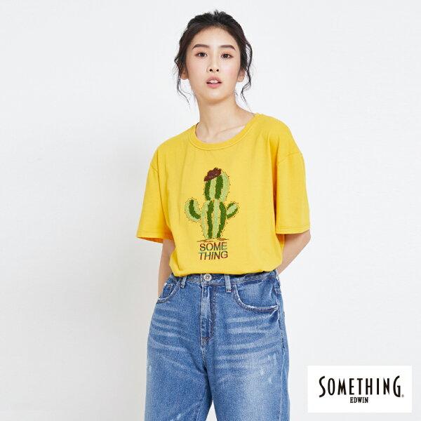 【新品上市↘】SOMETHING刺繡仙人掌短袖T恤-女款黃色【5月會員消費滿3000元再賺15%點數】