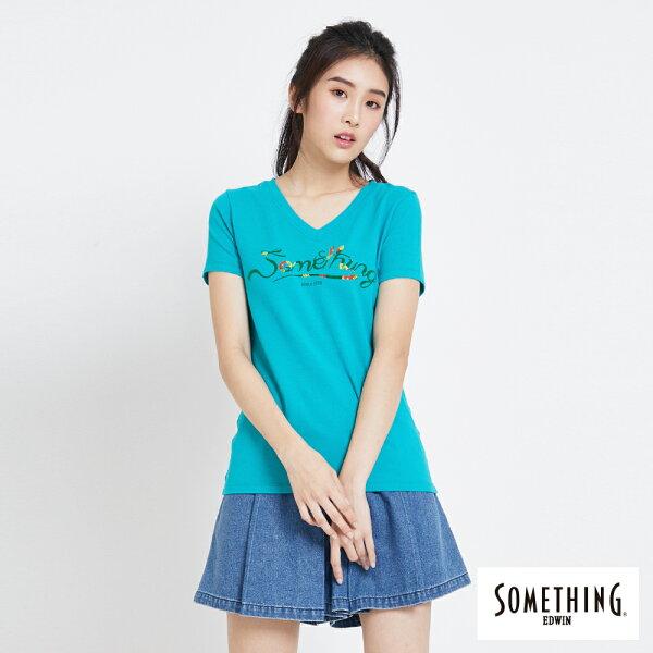 【新品上市↘】SOMETHING熱帶花紋LOGO合身短袖T恤-女款青綠色【5月會員消費滿3000元再賺15%點數】