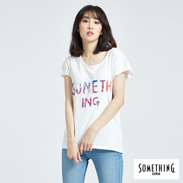 【新品換季2件以上7折↘】SOMETHING立體刺繡LOGO短袖T恤-女款白色【第3件起單數件手動折價