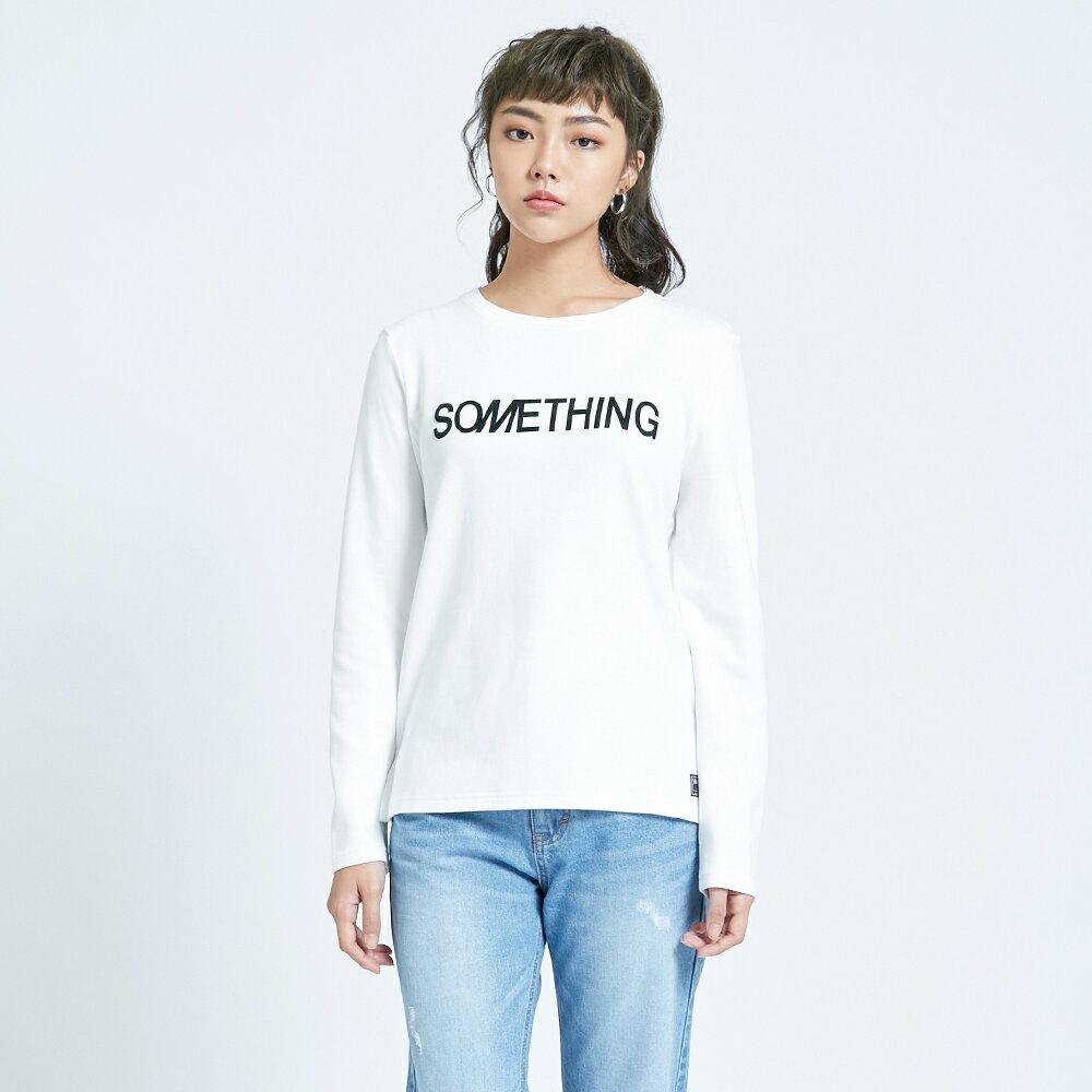 新品↘SOMETHING 馬毛LOGO 薄長袖T恤-女款 白色 1
