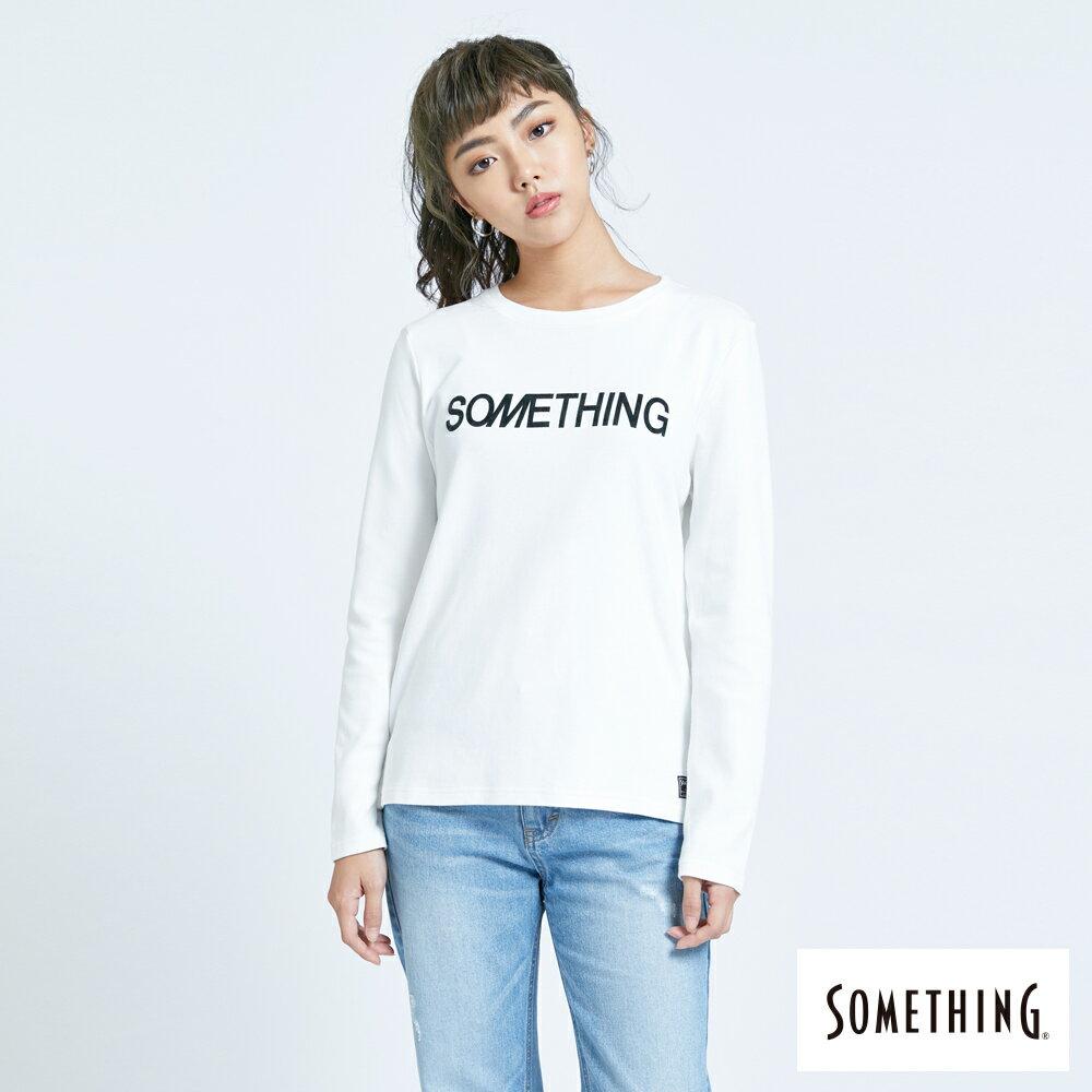 新品↘SOMETHING 馬毛LOGO 薄長袖T恤-女款 白色 0