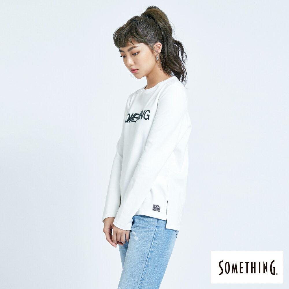 新品↘SOMETHING 馬毛LOGO 薄長袖T恤-女款 白色 3