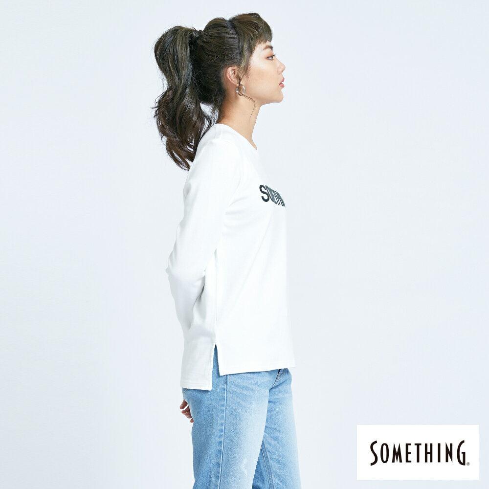 新品↘SOMETHING 馬毛LOGO 薄長袖T恤-女款 白色 4
