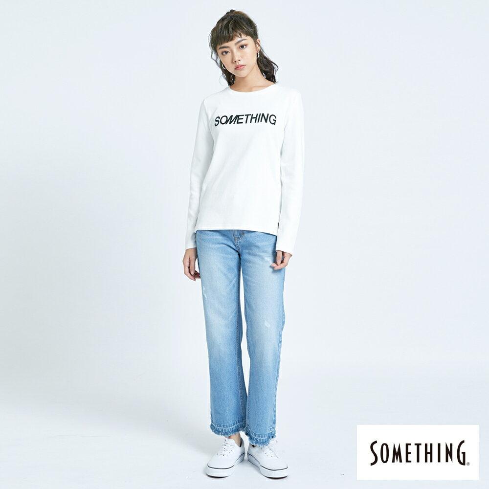 新品↘SOMETHING 馬毛LOGO 薄長袖T恤-女款 白色 5