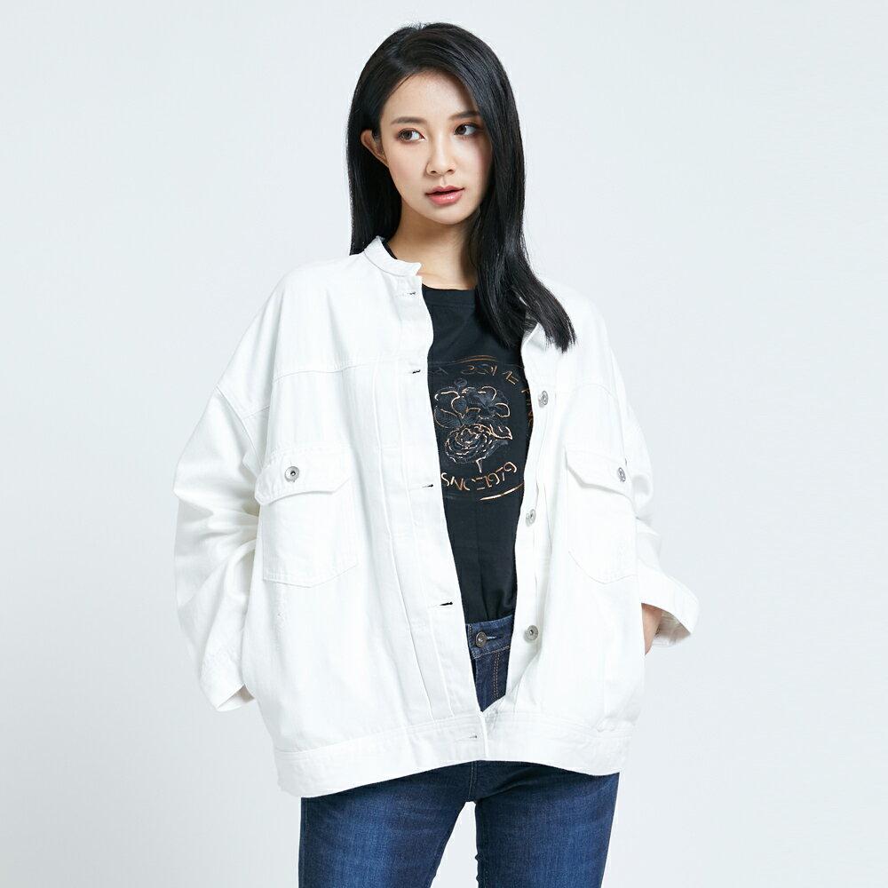 【APP領券9折】新品↘SOMETHING 寬版小領牛仔外套-女款 白色 1