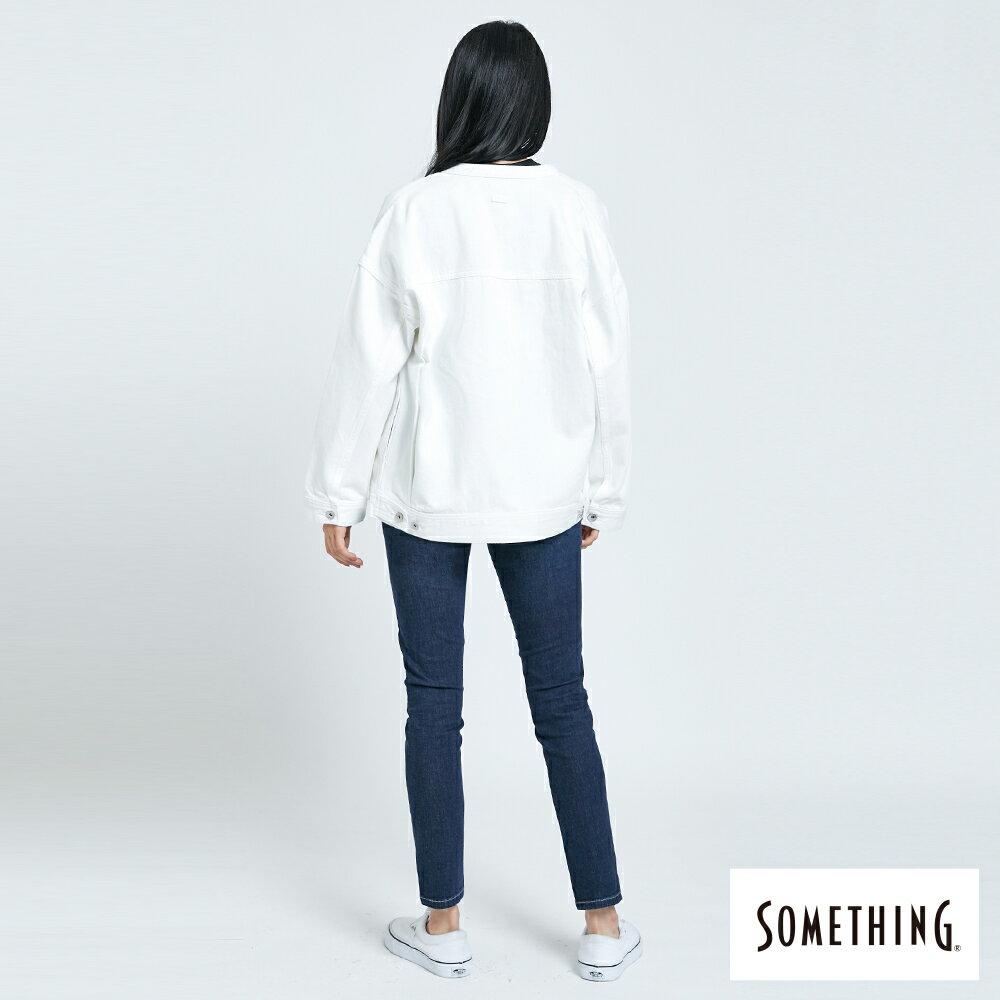 【APP領券9折】新品↘SOMETHING 寬版小領牛仔外套-女款 白色 5