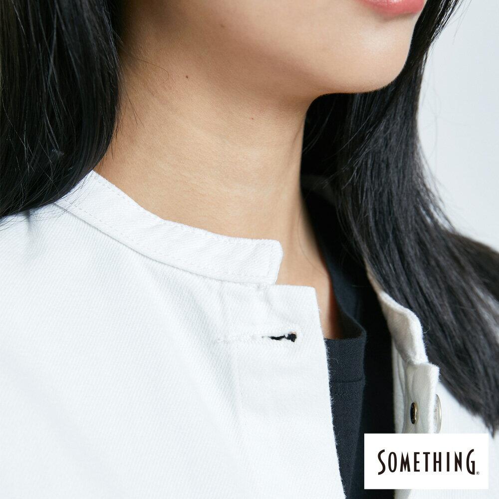 【APP領券9折】新品↘SOMETHING 寬版小領牛仔外套-女款 白色 7