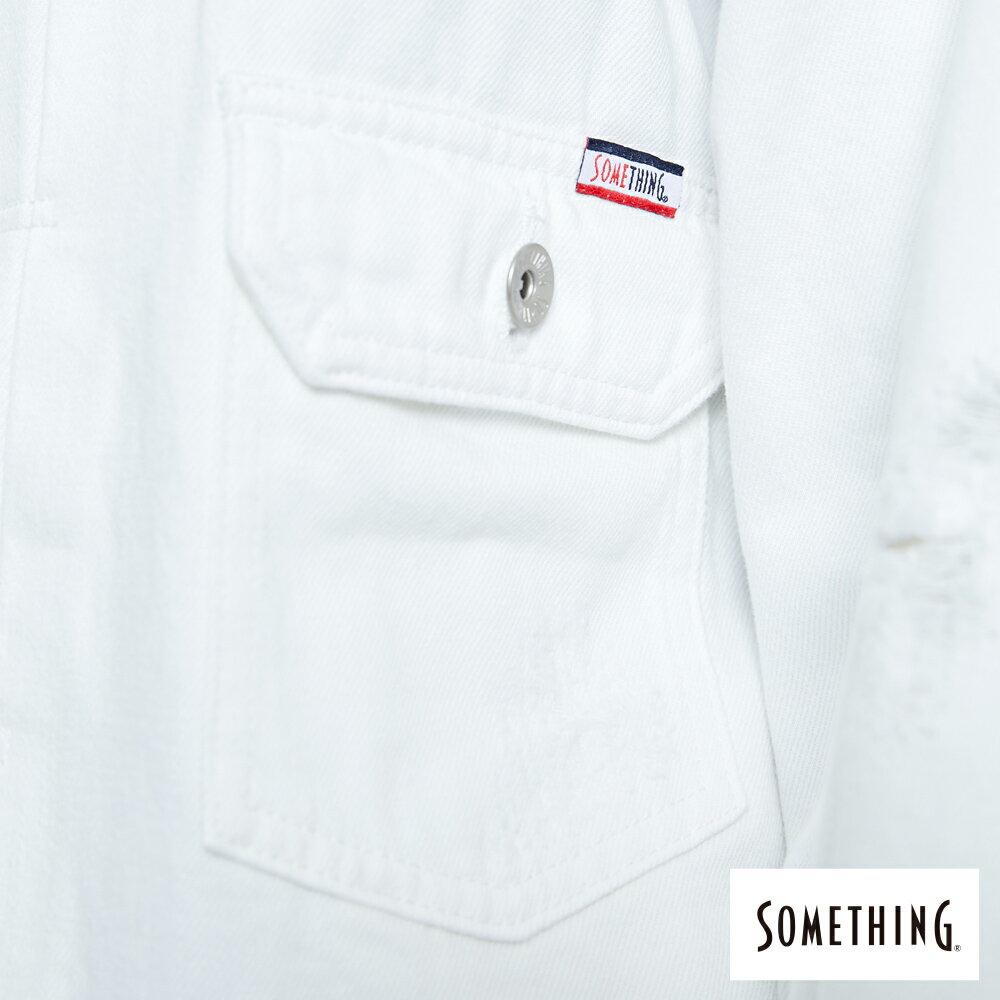 【APP領券9折】新品↘SOMETHING 寬版小領牛仔外套-女款 白色 8