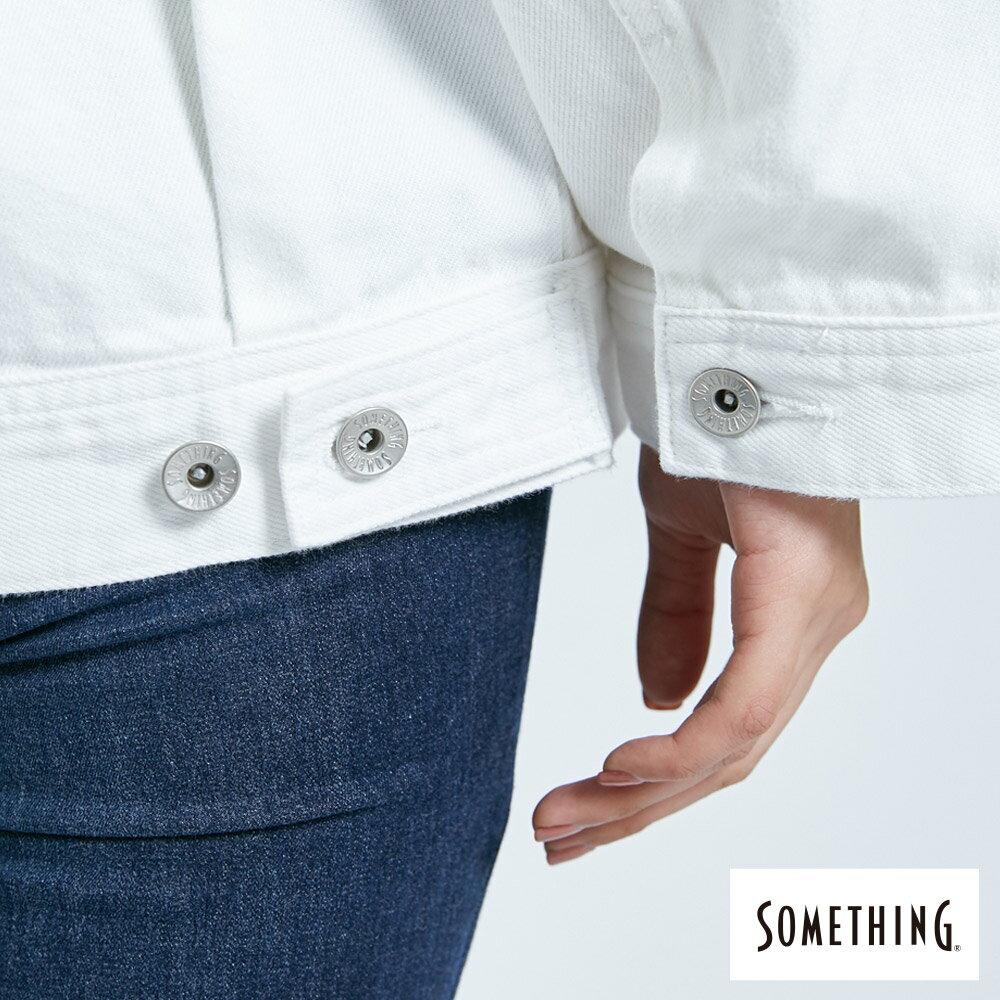 【APP領券9折】新品↘SOMETHING 寬版小領牛仔外套-女款 白色 9
