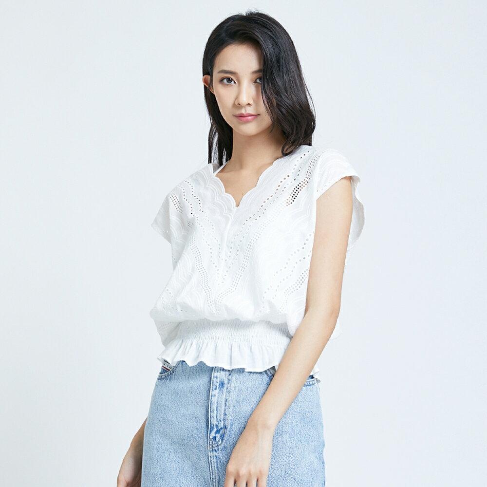【領券9折】新品↘SOMETHING 蕾絲V領短袖上衣-女款 米白色 1