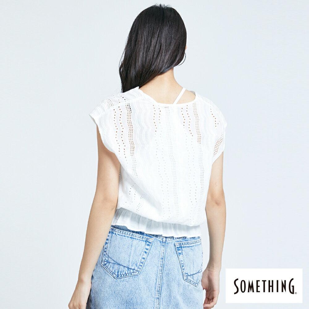 【領券9折】新品↘SOMETHING 蕾絲V領短袖上衣-女款 米白色 2