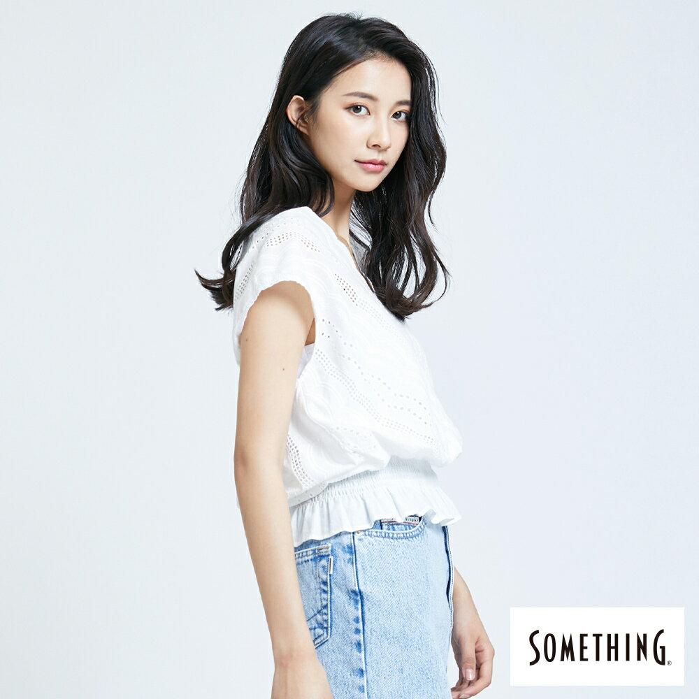 【領券9折】新品↘SOMETHING 蕾絲V領短袖上衣-女款 米白色 3