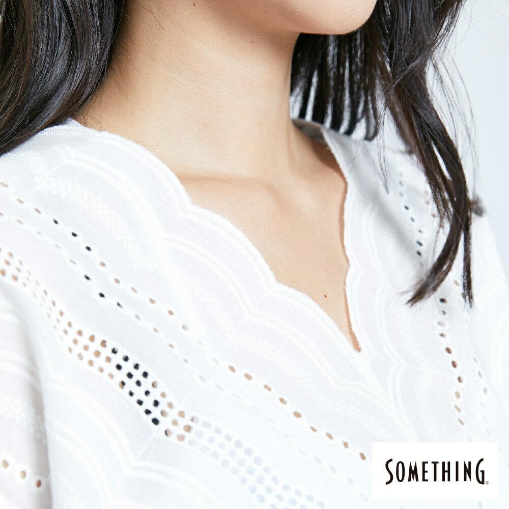 【領券9折】新品↘SOMETHING 蕾絲V領短袖上衣-女款 米白色 7