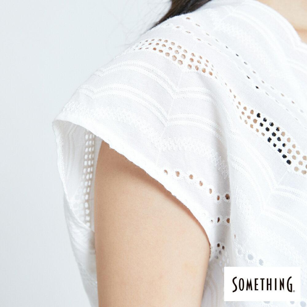 【領券9折】新品↘SOMETHING 蕾絲V領短袖上衣-女款 米白色 8