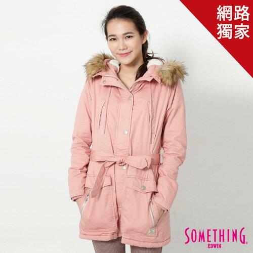 【5折優惠↘】SOMETHING 休閒俐落 毛領長版舖棉外套-女-粉紅