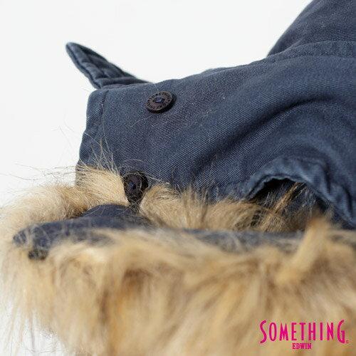 【網路限定款。5折優惠↘】SOMETHING 休閒俐落 毛領長版舖棉外套-女-灰藍 3