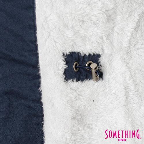 【網路限定款。5折優惠↘】SOMETHING 休閒俐落 毛領長版舖棉外套-女-灰藍 5
