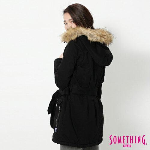 【網路限定款。5折優惠↘】SOMETHING 休閒俐落 毛領長版舖棉外套-女-黑色 1