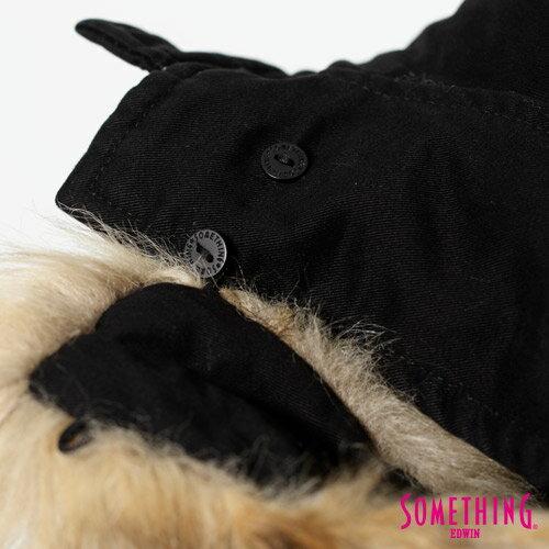 【網路限定款。5折優惠↘】SOMETHING 休閒俐落 毛領長版舖棉外套-女-黑色 3