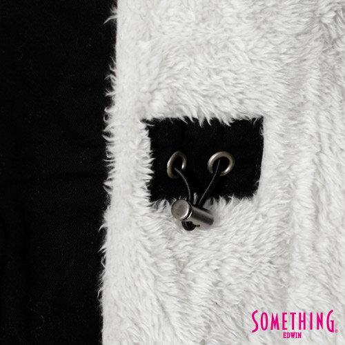 【網路限定款。5折優惠↘】SOMETHING 休閒俐落 毛領長版舖棉外套-女-黑色 5