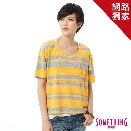 【490元優惠↘】SOMETHING條紋口袋短版T恤-女款黃色【5月會員消費滿3000元再賺15%點數】