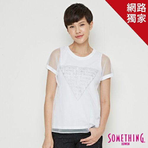 【490元優惠↘】SOMETHING三角印花網紗短袖T恤-女款白色【5月會員消費滿3000元再賺15%點數】