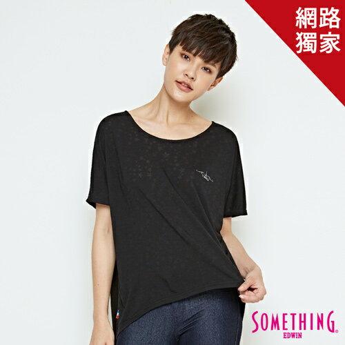 【最愛T恤專區。490均一價↘】SOMETHING 休閒星星燒花 連袖T恤-女款 黑色