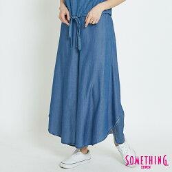 新品↘SOMETHING 特殊剪裁 牛仔闊腿褲裙-女款 漂淺藍 WIDE LEG
