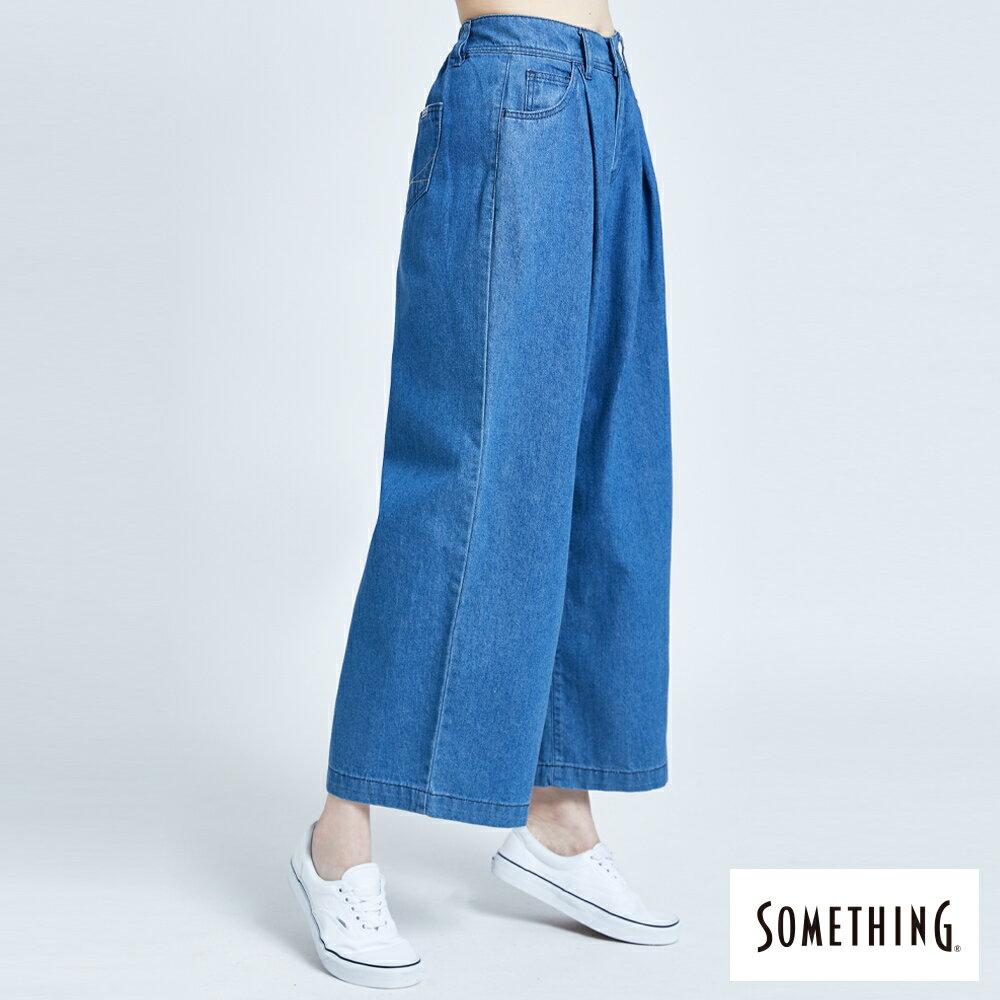 新品↘SOMETHING 後腰鬆緊打摺 高腰牛仔超寬褲-女款 拔洗藍 WIDE LEG CULOTTES 2