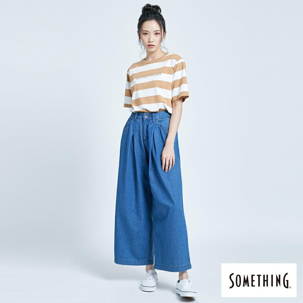 新品↘SOMETHING 後腰鬆緊打摺 高腰牛仔超寬褲-女款 拔洗藍 WIDE LEG CULOTTES 4