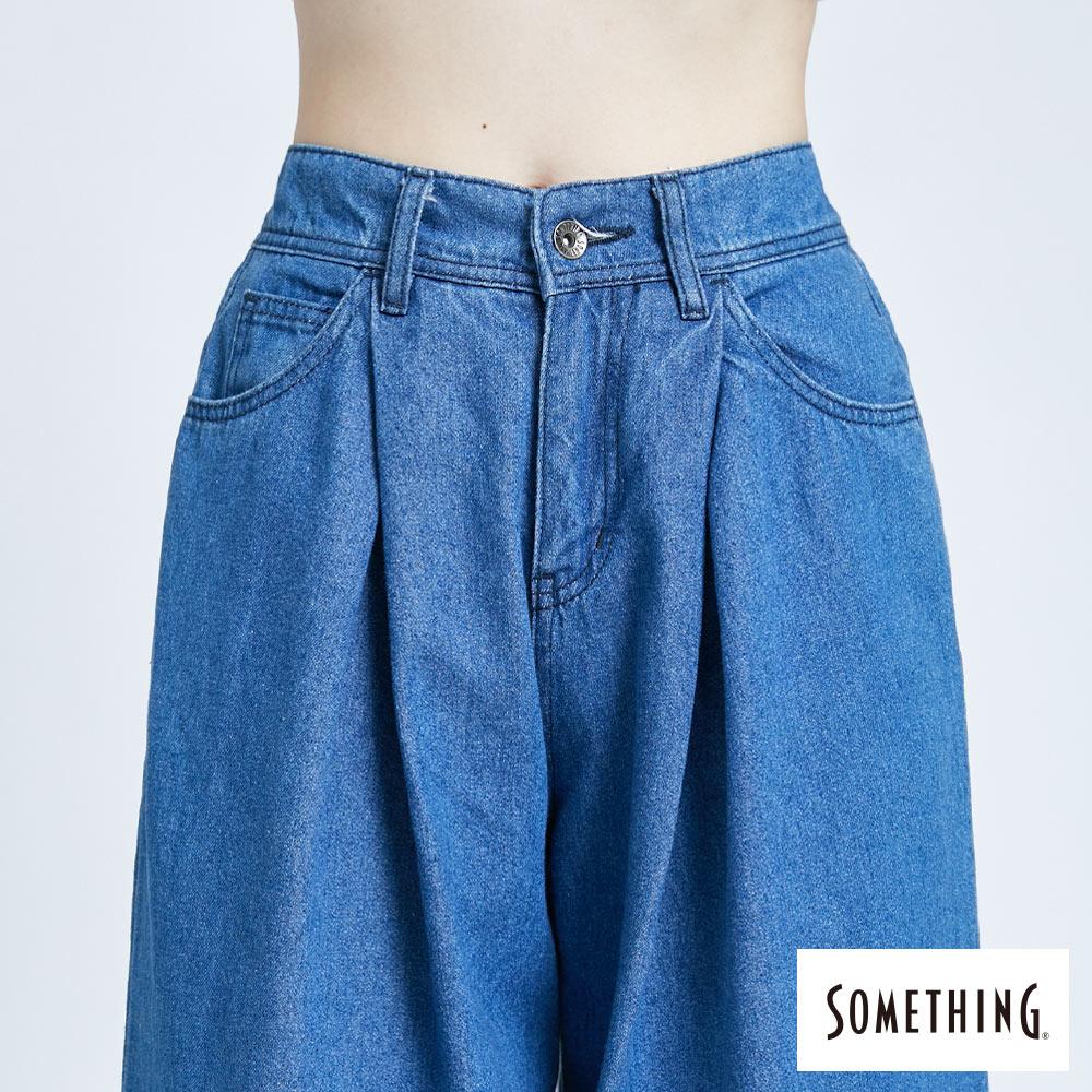 新品↘SOMETHING 後腰鬆緊打摺 高腰牛仔超寬褲-女款 拔洗藍 WIDE LEG CULOTTES 5