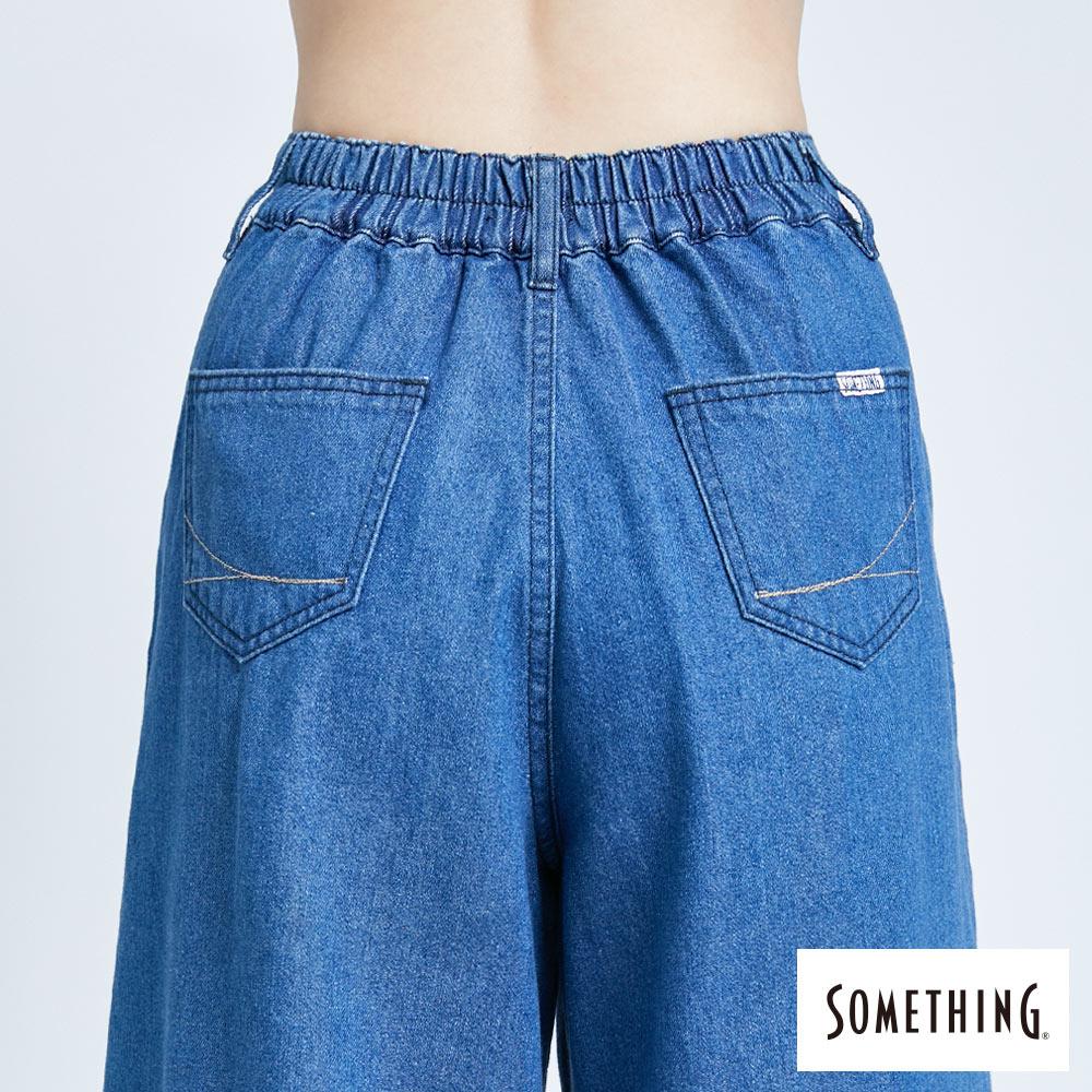 新品↘SOMETHING 後腰鬆緊打摺 高腰牛仔超寬褲-女款 拔洗藍 WIDE LEG CULOTTES 6