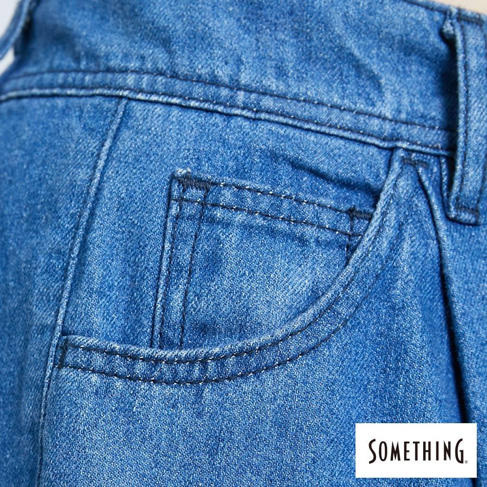 新品↘SOMETHING 後腰鬆緊打摺 高腰牛仔超寬褲-女款 拔洗藍 WIDE LEG CULOTTES 8