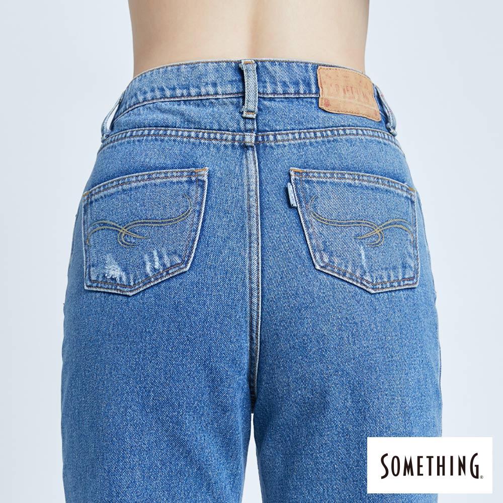 新品↘SOMETHING CELEB 褲口翻鬚 寬直筒牛仔褲 (附綁帶) -女款 中古藍 WIDE LEG CULOTTES 6