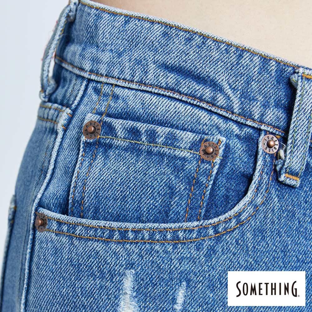 新品↘SOMETHING CELEB 褲口翻鬚 寬直筒牛仔褲 (附綁帶) -女款 中古藍 WIDE LEG CULOTTES 8