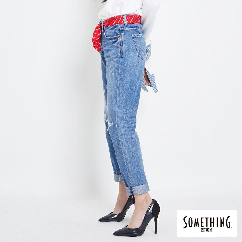 新品↘SOMETHING NEO FIT 手工破壞 寬直筒牛仔褲 (附綁帶) -女款 拔洗藍 WIDE LEG CULOTTES 3