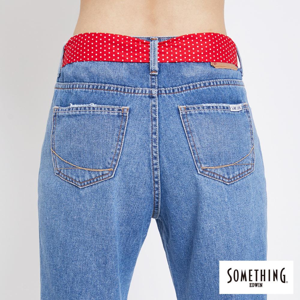 新品↘SOMETHING NEO FIT 手工破壞 寬直筒牛仔褲 (附綁帶) -女款 拔洗藍 WIDE LEG CULOTTES 6