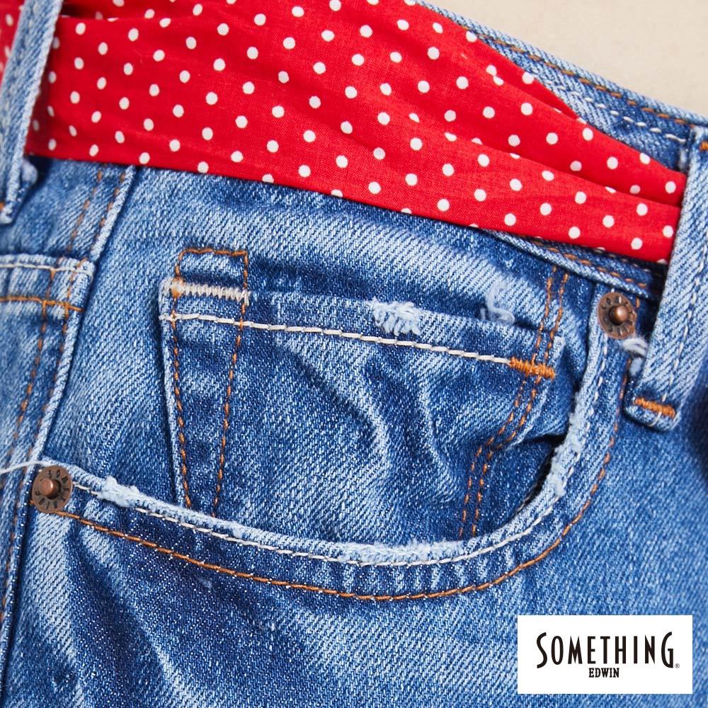 新品↘SOMETHING NEO FIT 手工破壞 寬直筒牛仔褲 (附綁帶) -女款 拔洗藍 WIDE LEG CULOTTES 7