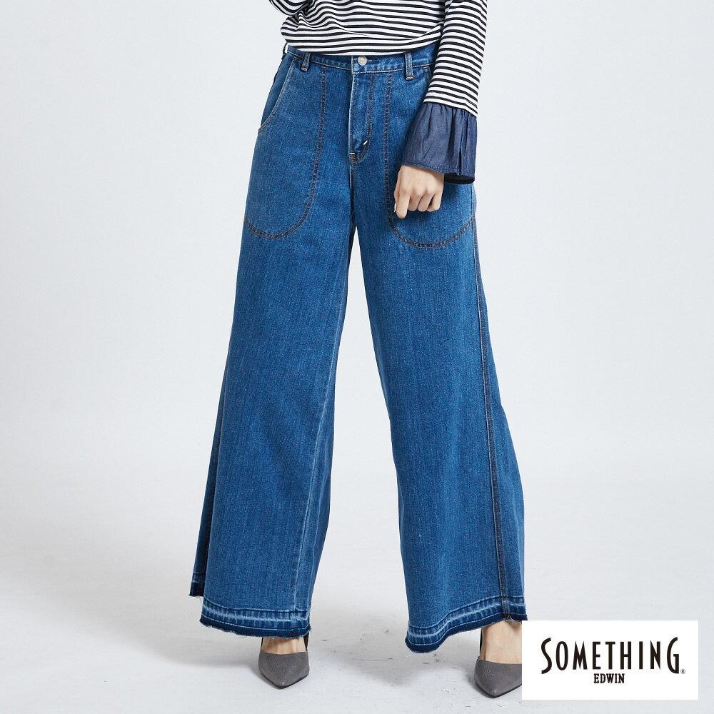 新品↘SOMETHING NEO FIT內貼袋剪接 牛仔寬褲 (附綁帶) -女款 石洗藍 WIDE LEG CULOTTES 0