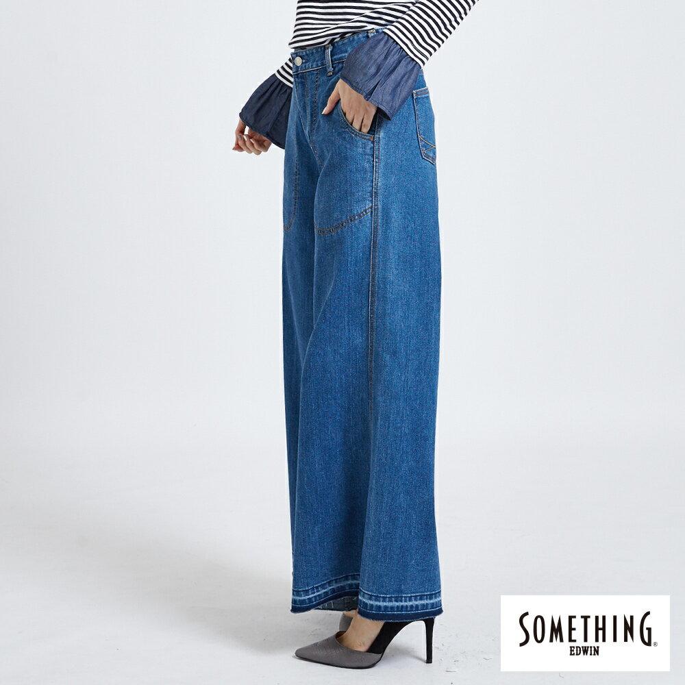 新品↘SOMETHING NEO FIT內貼袋剪接 牛仔寬褲 (附綁帶) -女款 石洗藍 WIDE LEG CULOTTES 2