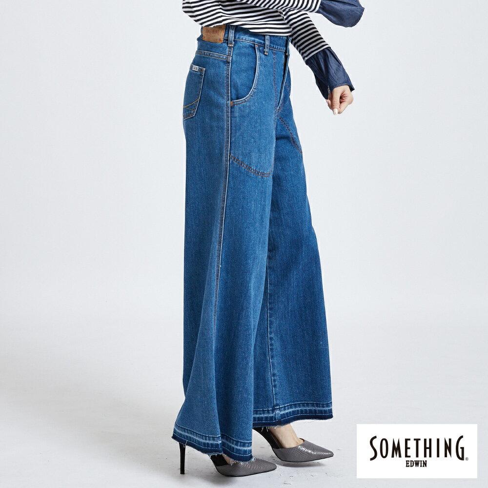 新品↘SOMETHING NEO FIT內貼袋剪接 牛仔寬褲 (附綁帶) -女款 石洗藍 WIDE LEG CULOTTES 3