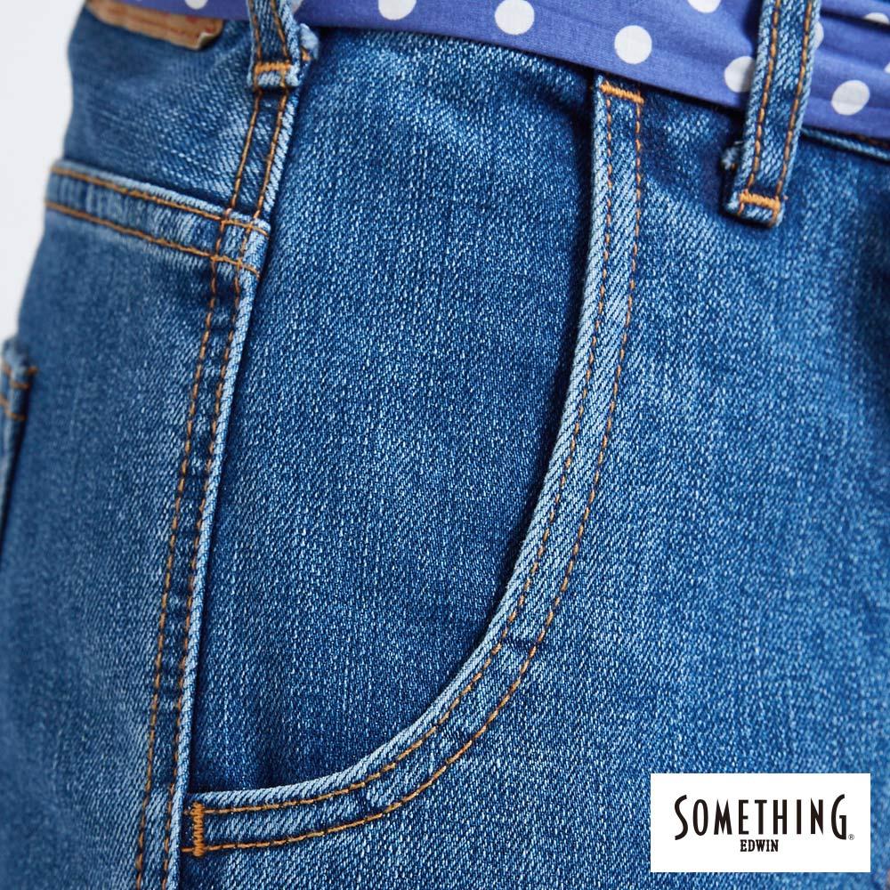 新品↘SOMETHING NEO FIT內貼袋剪接 牛仔寬褲 (附綁帶) -女款 石洗藍 WIDE LEG CULOTTES 7
