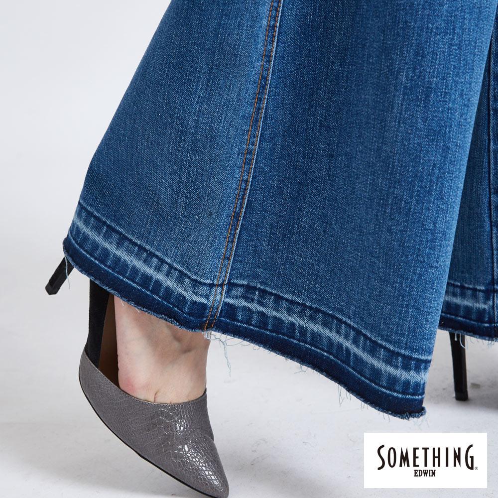 新品↘SOMETHING NEO FIT內貼袋剪接 牛仔寬褲 (附綁帶) -女款 石洗藍 WIDE LEG CULOTTES 9