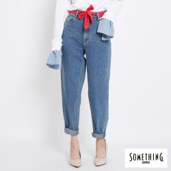 新品↘SOMETHING 復古水洗 高腰寬鬆AB牛仔褲 (附綁帶) -女款 中古藍 TAPERED
