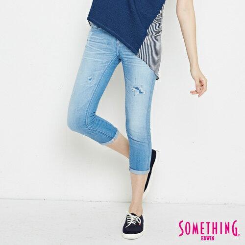 【過年加碼。2件再9折優惠↘】SOMETHING CELEB 破壞補釘 合身七分牛仔褲 -女款 石洗藍 0