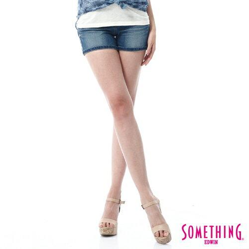 【5折優惠↘】SOMETHING NEO FIT鋸齒壓線牛仔短褲-女款 拔洗藍
