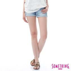 SOMETHING NEO FIT 鋸齒壓線 牛仔短褲-女款 漂淺藍 SHORTS